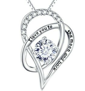 18K-White-Gold-Plated-039-I-Love-You-To-The-Moon-and-Back-039-HEART-NECKLACE-18-034-ITALY