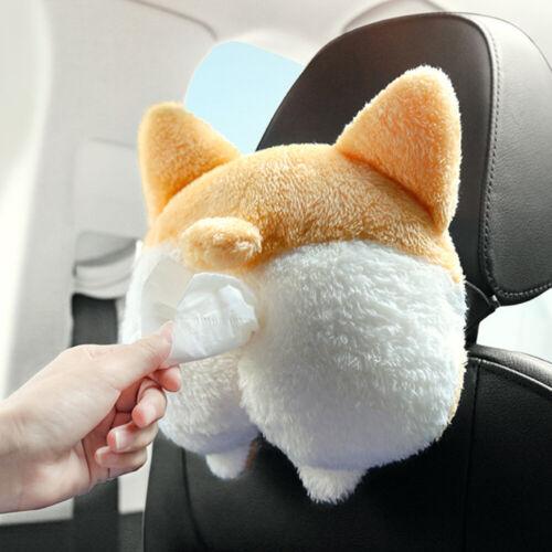 1 PC Tissue Box Cover Plush Corgi Butt Shaped Fun Adorable Hanging Pouch for Car