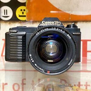 Canon-t50-35mm-SLR-Filmkamera-mit-28-85mm-Tokina-Zoom-Objektiv-Working-Lomo-Retro