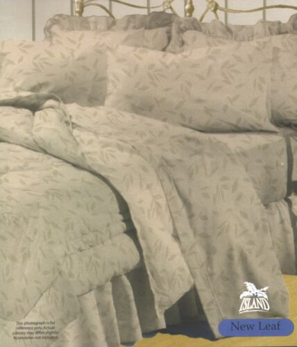Polycotton Beige Brown Leaf 250tc Queen Quilt Cover Duvet Set W// 2 Pillow Cases