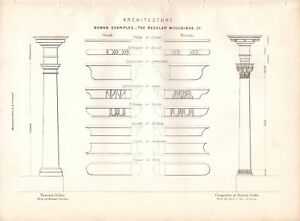 1877-PRINT-ARCHITECTURE-ROMAN-EXAMPLES-REGULAR-MOULDING