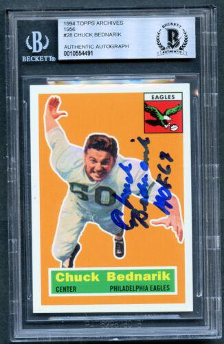 Chuck Bednarik Autographe Signé Auto 1994 Topps Archives 1956