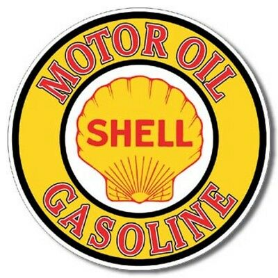 "Shell Motor Oil Gasoline 11.75"" Dia. Round Metal Sign Tin New Vintage Style #830"