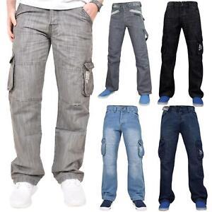 Para-Hombre-Enzo-Jeans-combate-Informal-Denim-Bolsillo-De-Carga-Pantalones-Pantalones-Big-amp-Tall