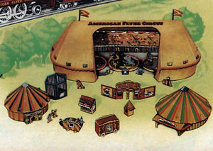 Reproduction-American-Flyer-Cardboard-Circus-Tent-amp-Accessory-Set