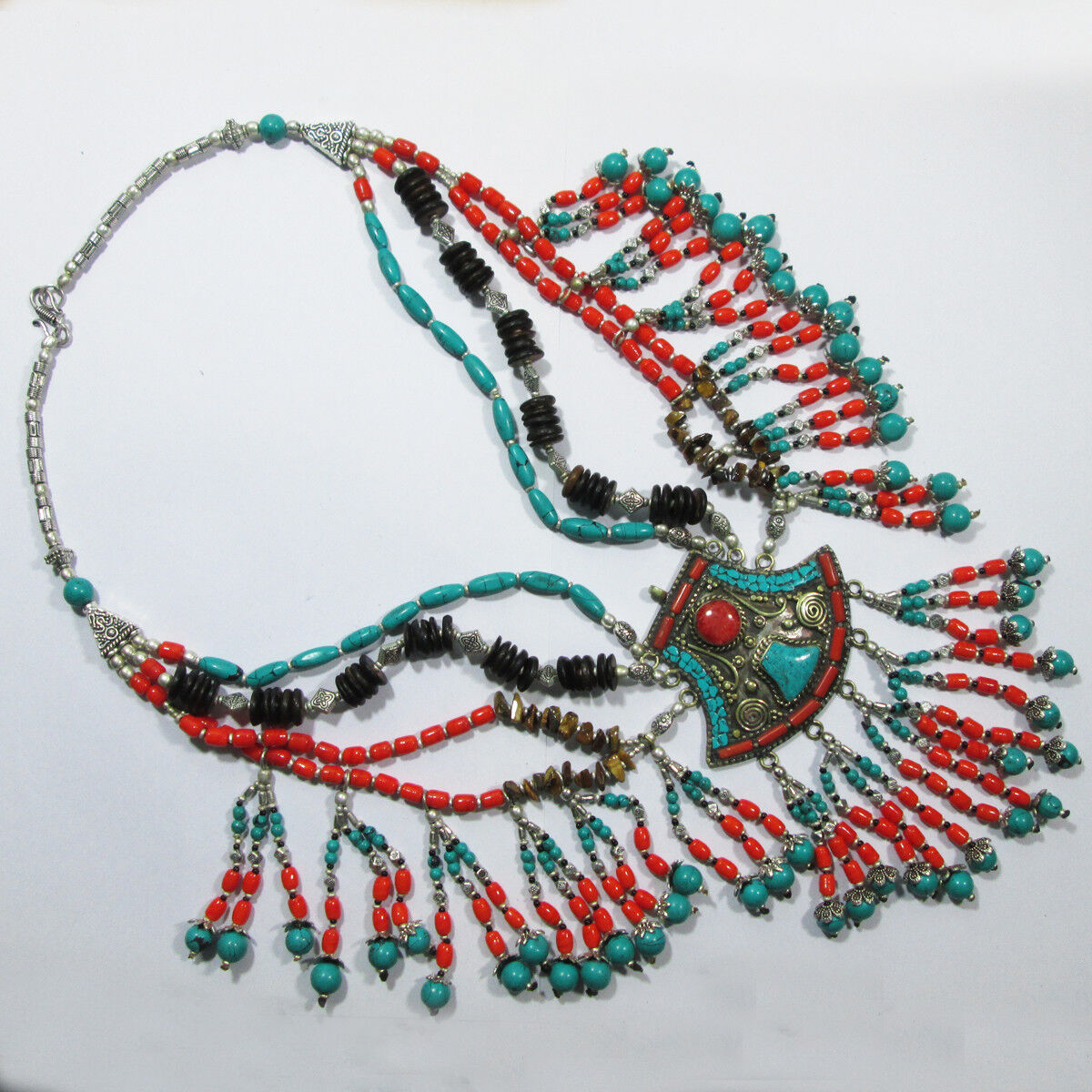 Tibetan turquoise Tiger eye Coral beads handcrafted bohemian jewellery