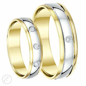 His Hers Wedding Rings 56mm 9ct Two Colour Gold Diamond Wedding