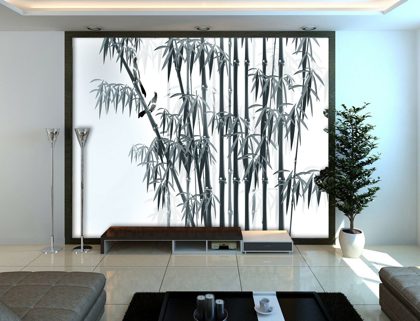 3D Bamboo Leaves 6 Wallpaper Murals Wall Print Wallpaper Mural AJ WALLPAPER UK
