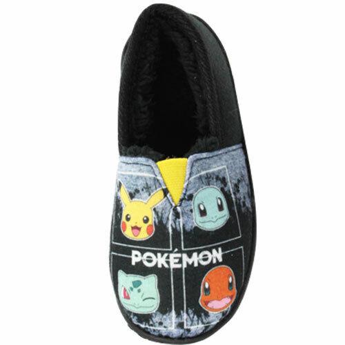 Boys Warm Fleece Lined Slippers Pokemon Cotton Slip On Fur Shoes Size UK 8-2