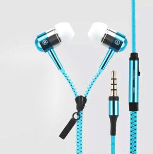 3.5mm In-Ear Zip Zipper STEREO Hands Free Headphones Headset+Mic Earphones pop