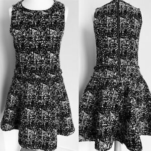 Banana-Republic-Party-Dress-Black-amp-White-Boucle-Tweed-Flared-A-Line-Size-12