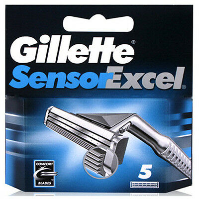 5 Blades Gillette Sensor Excel Shaving Razor Refill Blade Cartridges