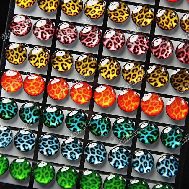 Wholesale Jewelry Lots 72pcs Enamel Stainless steel Mix Leopard Stud Earrings