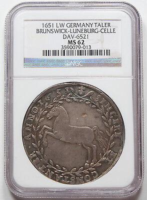 Germany Brunswick-Luneburg-Celle 1651-LW Taler Thaler Coin MS62 NGC Dav-6521 UNC