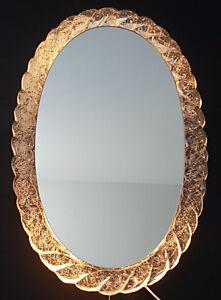 Dependable MagnÍfico Espejo Oval Retro Espejos Luz 1970 Vintage Resina Loco AÑos 70 70 Sale Overall Discount 50-70% Arte Y Antigüedades