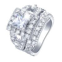 Luxury Womens Gemstone CZ Wedding Engagement Ring Set Bride Band Rings Size6-9