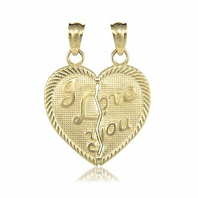 Solid 10k Yellow Gold I Heart My Mom Pendant Charm