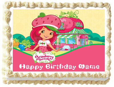 Outstanding Strawberry Shortcake Edible Cake Topper Image Ebay Funny Birthday Cards Online Elaedamsfinfo