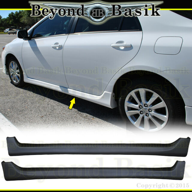 Side Skirts Compatible With 2009-2013 Toyota Corolla PP Black Side Bottom Line Extension by IKON MOTORSPORTS 2010 2011 2012