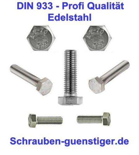 Sechskantschrauben 4 mm DIN 933 M4 x 35 Edelstahl V2A Profi Qualität * 50 Stk