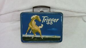 VINTAGE 1950'S ROY ROGERS TRIGGER LUNCH BOX--NO THERMOS--GOOD CONDITION