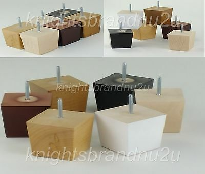 4x SOLID WOOD REPLACEMENT FURNITURE LEGS/FEET - SOFA, CHAIRS, SETTEE M10(10mm)
