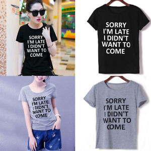 New-Funny-T-shirts-Women-Short-sleeve-Tops-Tee-Black-Gray-Cotton-On-Sale