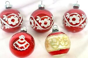 image is loading 5 vintage christmas ornaments red glass glitter flowers