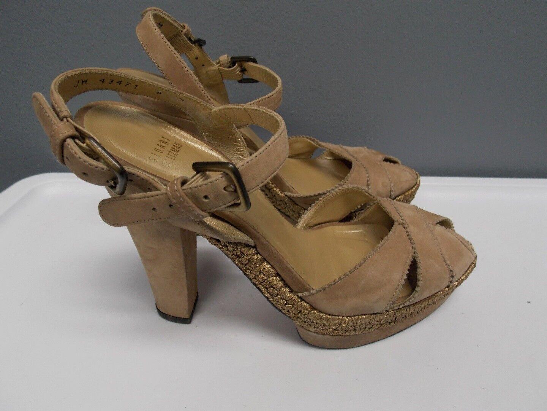 STUART WEITZMAN Beige Suede Peep Toe Ankle Strap Stiletto Heels Sz 8 B3062