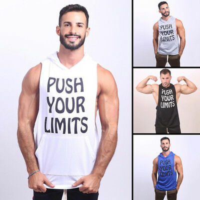 Hot Mens Gym Clothing Bodybuilding Stringer Hoodie Tank Top Muscle hooded Shirt