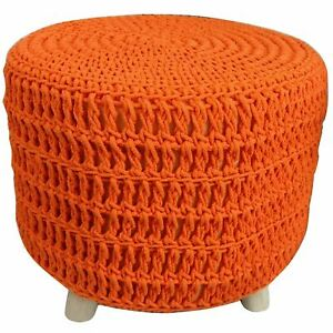 Astounding Details About Orange Knitted Cotton Pouffe Chair Braided Cushion Footstool Seat Rest Wood Legs Frankydiablos Diy Chair Ideas Frankydiabloscom