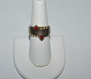 VINTAGE TAXCO MEXICO MODERNIST STERLING SILVER AND GARNETS RING ...