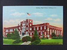 Gaffney South Carolina SC High School US Flag Curt Teich Linen Postcard 1942
