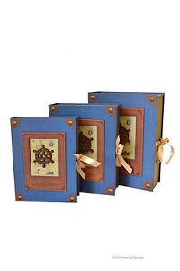 Decorative nesting storage book boxes set of 3 grey