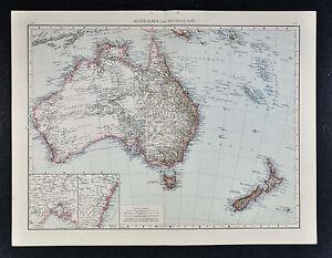 New Zealand Map Labeled.1887 Andrees Map Australia New Zealand Sydney Melbourne Tasmania