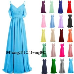 Long Chiffon New Evening Formal Party Ball Gown Prom Bridesmaid Dress Size 6~28
