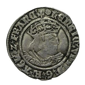 Henry viii hammered silver Groat  mm Rose  S2337E