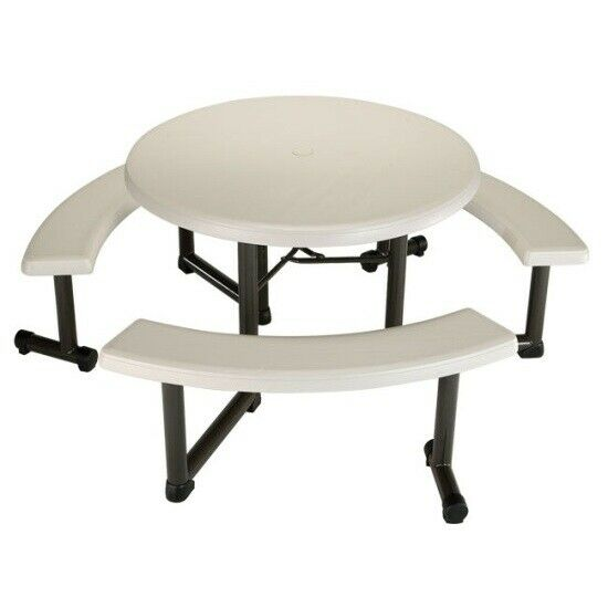 Surprising Lifetime Picnic Table 22127 44 Inch Round Top Swivel Benches Almond Color Top Onthecornerstone Fun Painted Chair Ideas Images Onthecornerstoneorg