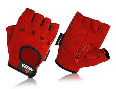 Energisch Meteor Weight Lifting Gym Gloves Red Leather Suede, Fashion Gloves Cycle, Mma