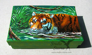 Hand-bemalte-Schachtel-Tiger-Kunst-Tier-hand-painted-art-box-tiger-water-green