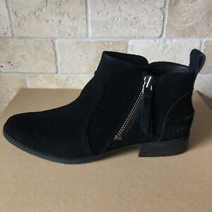 1df56af2a26 Details about UGG Aureo Black Suede Zip up Ankle Booties Boots Size 10  Womens