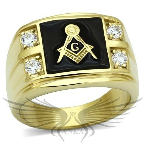Men's Masonic Freemason Ring Gold Plated AAA CZ Cubic Zircon Accented 8-14 TK719