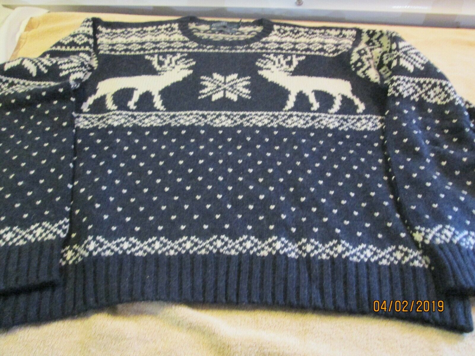 Polo Ralph Lauren rugby sweater snowflake deer wool XL