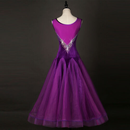 Ballroom Dance Dress Modern Waltz Standard Competition Purple Velvet  Dress W215