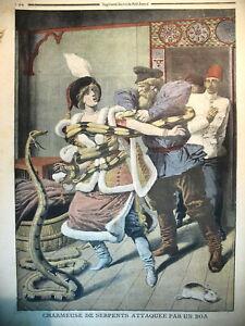 EGYPTE-CHARMEUSE-DE-SERPENTS-LA-BELLE-SIBERIENNE-ET-LE-BOA-LE-PETIT-JOURNAL-1910