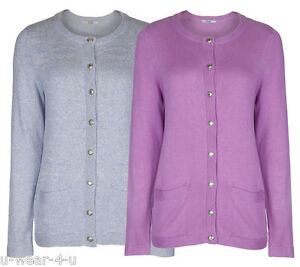 LOVLEY-WARM-LADIES-MARKS-AND-SPENCER-M-amp-S-CLASSIC-ROUND-NECK-BUTTON-UP-CARDIGAN