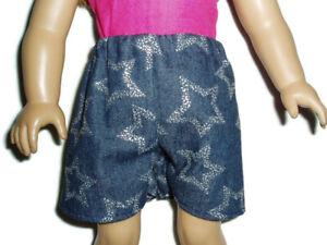 Silver-Stars-Denim-Shorts-Fits-American-Girl-dolls-18-034-Doll-Clothes