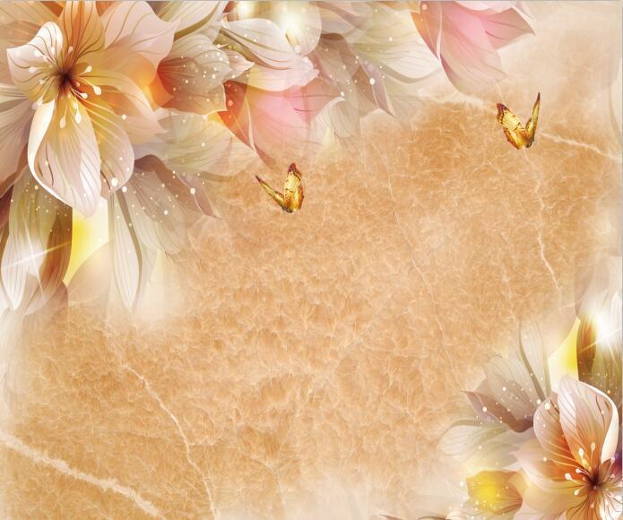 3D Butterflies Flowers 57 Wallpaper Decal Dercor Home Kids Nursery Mural Home