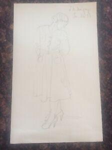 Signed-1938-Lillian-Mingay-Pencil-Drawing-Female-Figure-40-1930s-Fashion-Dress