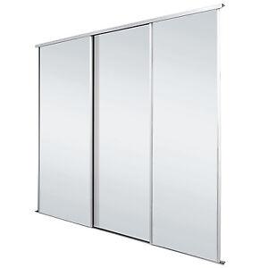 Image Is Loading White Frame Mirror Sliding Wardrobe Doors Kit Free